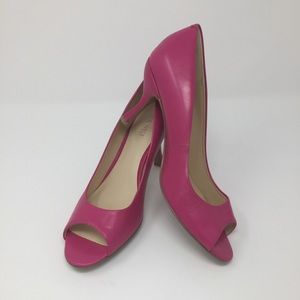 Hot Pink Leather Peep Toe Classic Pumps 8.5
